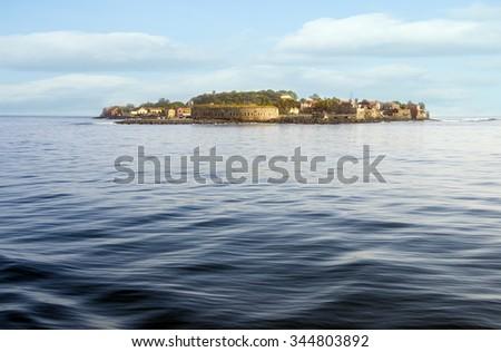 Goree Island seen from the sea, Dakar, Senegal, Africa  - stock photo
