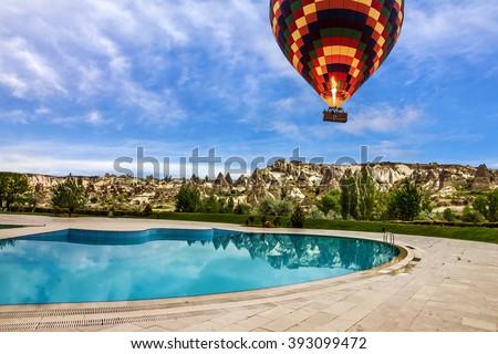 Goreme, Cappadocia, Turkey. Open swimming pool - stock photo