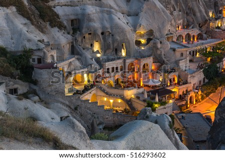 Goreme town in the night in Cappadocia, Central Anatolia,Turkey