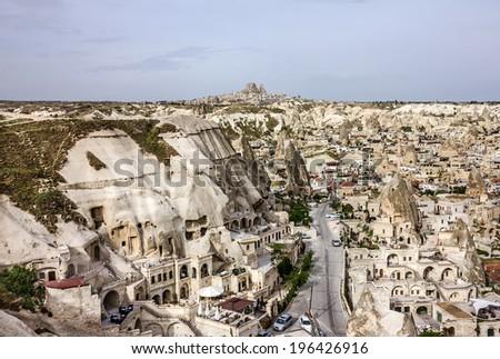Goreme town street, Cappadocia, Turkey - stock photo