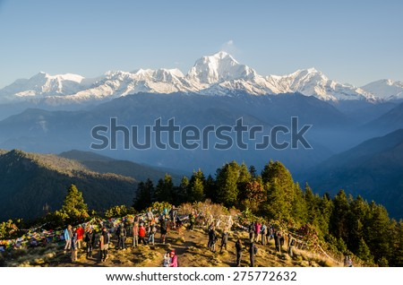 GOREPANI, NEPAL - APRIL 19, 2015 : Surroundings around the top of Poon hill on April 19, 2015. Poon hill is the famous view point in Gorepani village in Annapurna conservation area, Nepal.