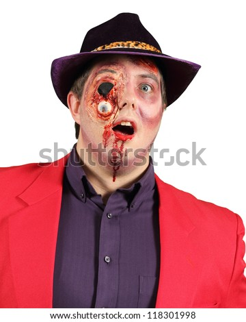 Gorey Halloween Makeup Costume on Adult Male Isolated on White