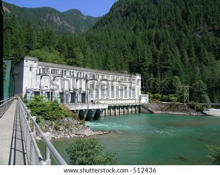Gorge Powerhouse 2 on the Skagit River in Washington state,USA - stock photo