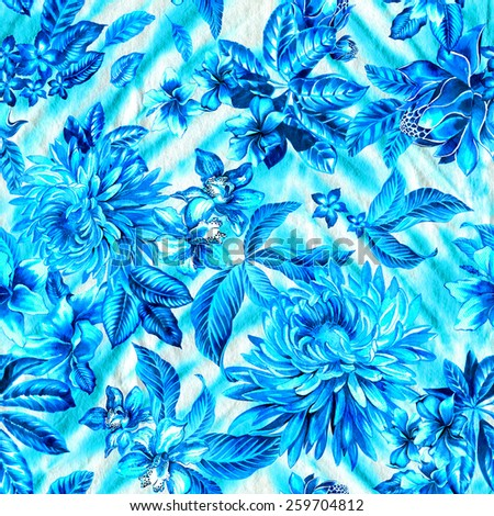gorgeous and detailed seamless pattern with detailed and realistic illustration of garden flowers on a tie dye zig zag background. for fashion and interior.  - stock photo
