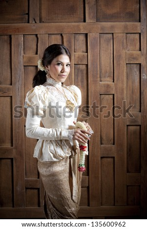 Gorgeous asian woman in thai dress