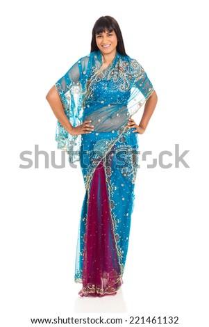 gorgeous asian woman wearing sari isolated on white - stock photo