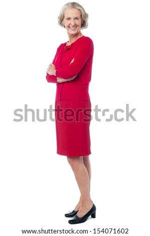 Gorgeous attractive aged lady posing in style - stock photo