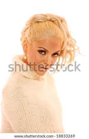 Gorgeous blond woman on white background