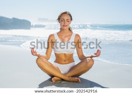 Gorgeous blonde in lotus pose by the sea on a sunny day - stock photo