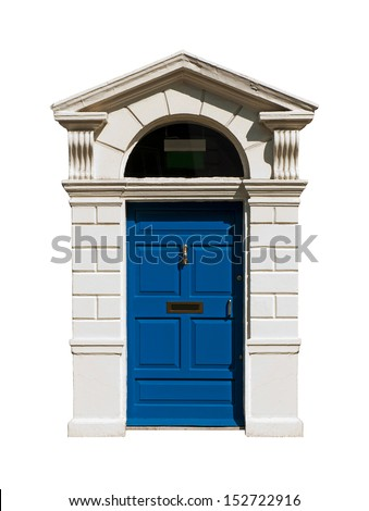 gorgeous blue irish building door with a carved stone surround (isolated on white background) - stock photo