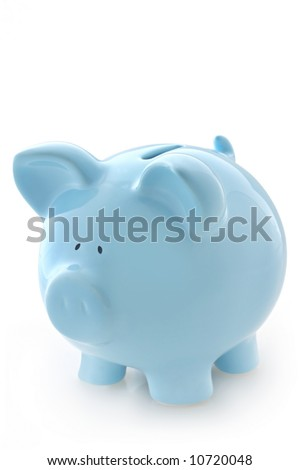 Gorgeous blue piggy bank, isolated on white with soft shadow. - stock photo