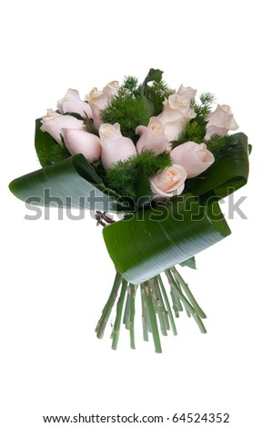 gorgeous bouquet of pink roses isolated on white background