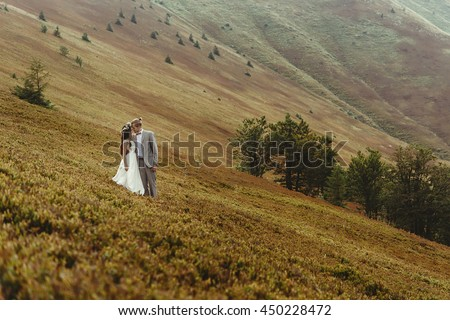 gorgeous bride and stylish groom hugging at sunny landscape,  boho wedding couple, luxury ceremony at mountains with amazing view, space for text