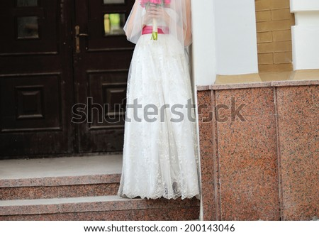 Gorgeous bride in beautiful dress. Wedding picture. - stock photo