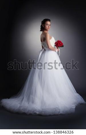 Gorgeous bride posing in elegant dress - stock photo