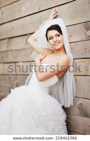 Gorgeous brunette bride on wedding day.  - stock photo