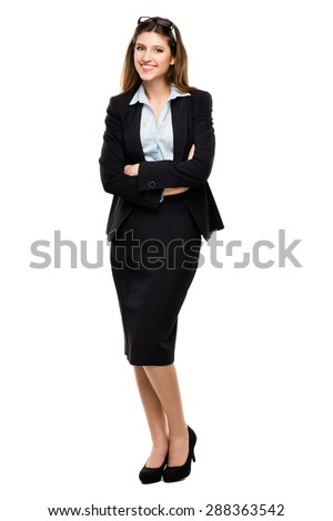 Gorgeous Business Woman Full length isolated on white