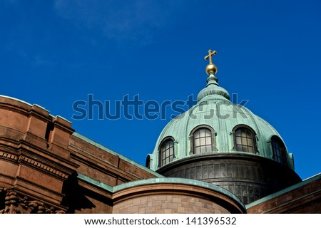 Gorgeous cathedral in Philadelphia, Pennsylvania under a beautiful blue sky.