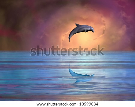 Gorgeous dolphin leaping against a spiral galaxy