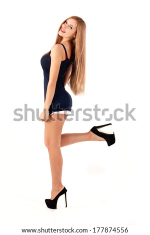 Gorgeous fashion model in a skirt - stock photo
