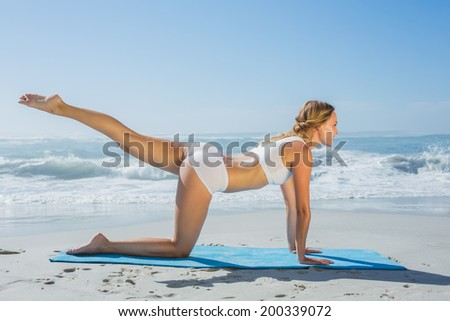 Gorgeous fit blonde in pilates pose on the beach on a sunny day - stock photo