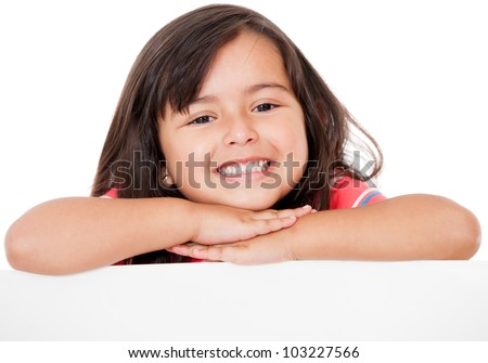 Gorgeous girl leaning on a banner - isolated over a white background - stock photo
