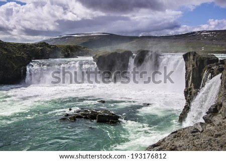 Gorgeous Godafoss waterfalls in north Iceland - stock photo