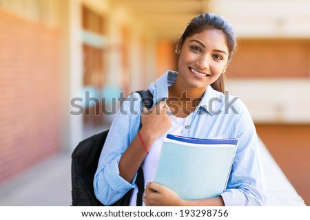 gorgeous indian female university student portrait - stock photo