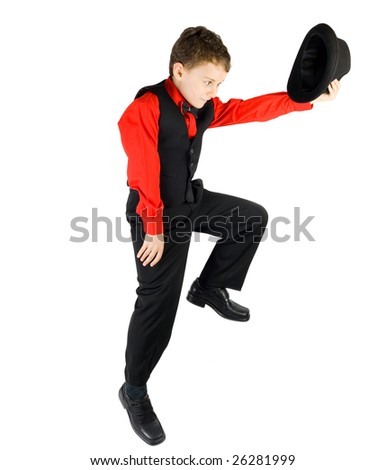 Gorgeous kid dancer, isolated on white background