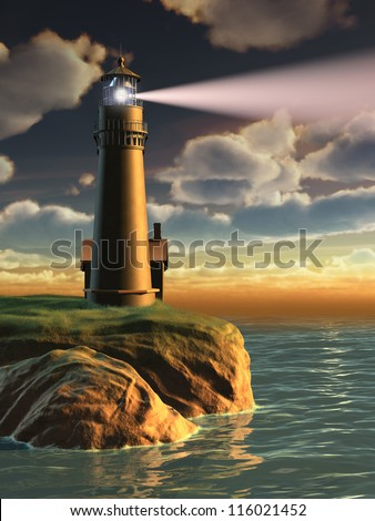 Gorgeous landscape with a lighthouse at sunset. Digital illustration. - stock photo