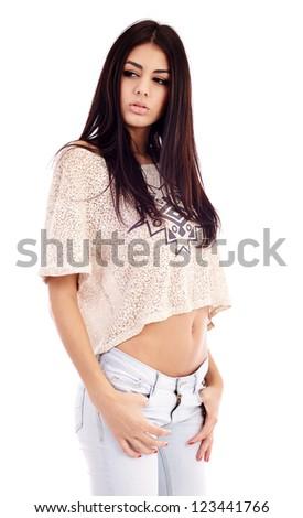Gorgeous latin young woman closeup, isolated on white background - stock photo