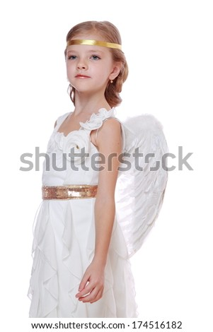 Gorgeous little angel isolated on white background on Holiday theme - stock photo
