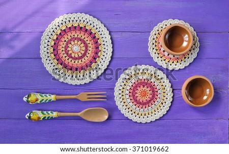 Gorgeous Mandala Crochet Doilies,Cutlery. Rustic decor  - stock photo