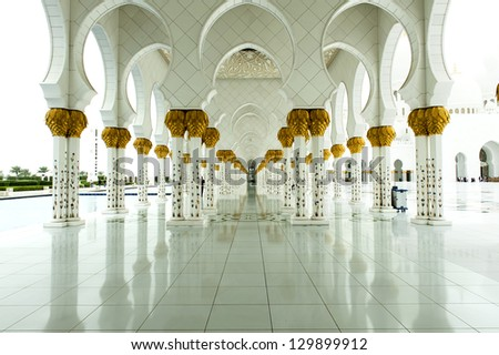 gorgeous marble portico of grand mosque in Abu Dhabi - stock photo