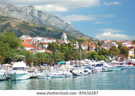 Gorgeous marina in Baska Voda, Croatia - stock photo