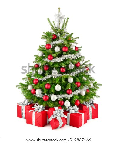 Gorgeous natural Christmas tree with red, white and silver ornaments and matching gift boxes, studio isolated on white background