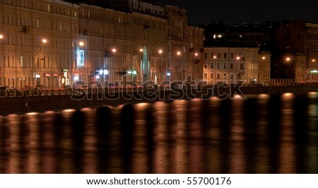 Gorgeous night view at Fontanka river from Nevsky prospect in Saint Petersburg, Russia