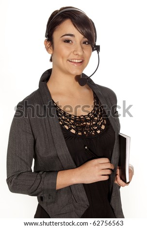 Gorgeous personal assistant with wireless telephone headset on white background. - stock photo