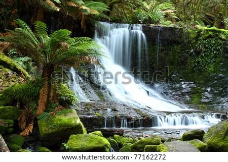 Gorgeous Russel Falls splash down in the Mt Field National Park, Tasmania, Australia. - stock photo
