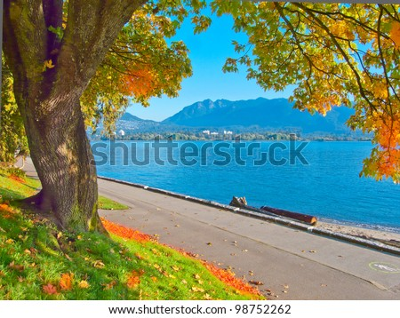 Gorgeous sea walk in the park. Stanley Park, Vancouver, Canada. - stock photo