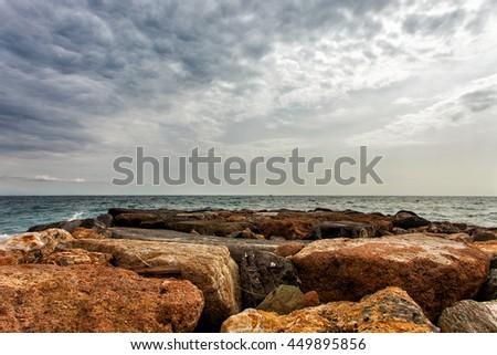 Gorgeous seascape and rocks in Liguria, Italy - stock photo