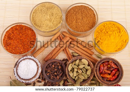 gorgeous setting with cooking spices and herbs (bay leaves, chili powder, coriander, cloves, cardamom pods, cinnamon sticks, garam masala, piri piri, salt, turmeric) on a wooden mat - stock photo