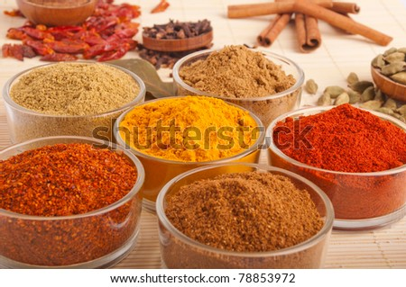 gorgeous setting with cooking spices and herbs (bay leaves, cumin, coriander, chili powder, cloves, cardamom pods, cinnamon sticks, paprika, piri piri, salt, turmeric) on a wooden mat (shallow DOF)