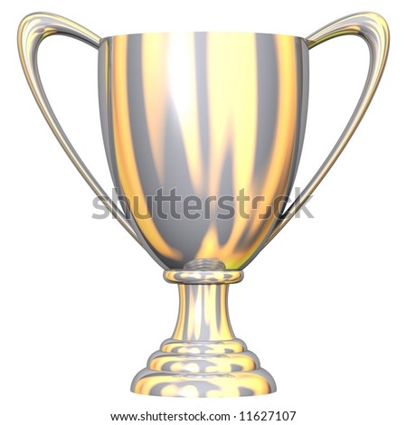 Gorgeous silver trophy cup isolated on white - stock photo
