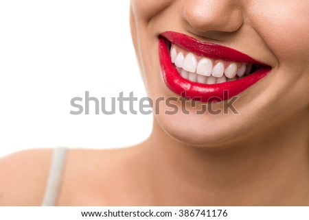 Gorgeous smile with red lips and healthy white teeth  - stock photo