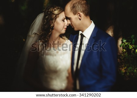 gorgeous stylish happy blonde bride and elegant groom on a background of beautiful sunny trees