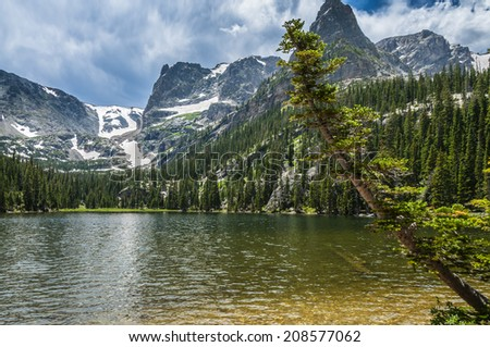 Gorgeous summer day at Cub Lake in Rocky Mountain national park colorado - stock photo