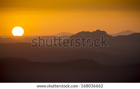 Gorgeous sunrise in the mountains - stock photo