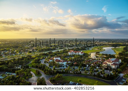 Gorgeous sunset aerial panoramic view of the Orlando, Florida - stock photo