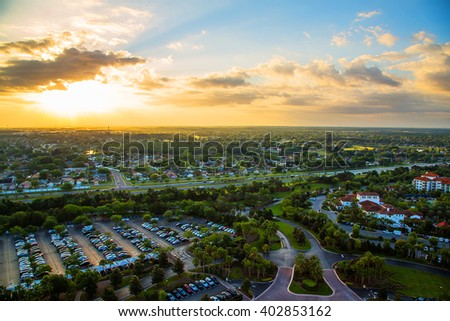 Gorgeous sunset view on the beautiful city of Orlando from above during sunset - stock photo